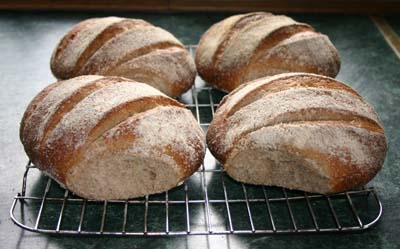 The loaves  separated to show a glimpse of the crumb structure