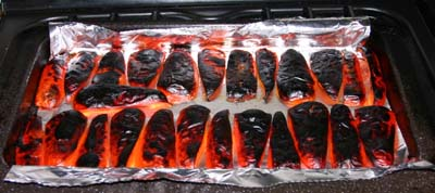 The peppers cooked
