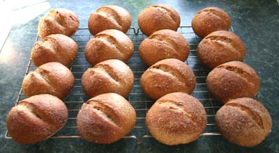 The wholemeal rolls fresh from                 the oven on the 20 March 2012