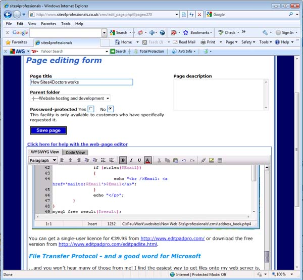 Part of the page editing form, showing the Editize window