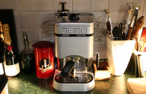 The Baby Gaggia espresson maching, with accessories