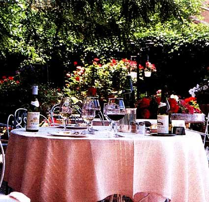 Our table on the terrace at Les Florets